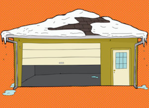 roken garage door with snow on roof over orange background