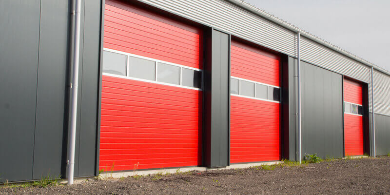 Commercial Overhead Doors in red
