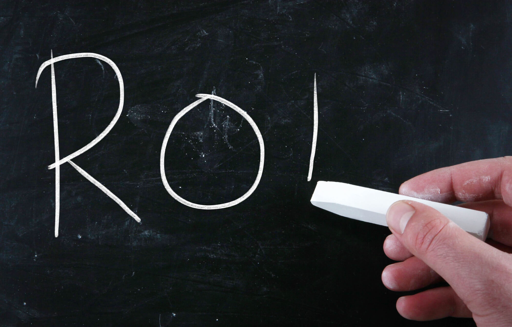 ROI written in chalk on a chalkboard